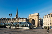 Public transport tram system, Bordeaux city, Aquitaine, Gironde, France, Europe