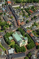 Aerial view, town centre, old town, with Catholic Church, town of Rees, Lower Rhine region, North Rhine_Westphalia, Germany, Europe