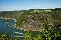 View Showing The Lorelei On The Rhine River, Oberwesel Germany