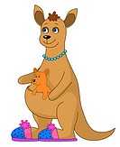 Kangaroo in slippers and baby