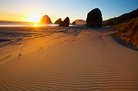 Sunset Over Rock Formations At Cape Sebastian Park, Oregon United States Of America