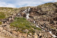 Water flowing over rock on a rugged slope, highlands norway
