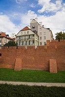 Fortification wall barbican in the old town, warsaw poland