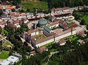 St. Blasius Cathedral in Sankt Blasien, Germany, aerial photo