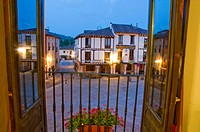 Main Square at night time, viewed from an open window. Covarrubias, Burgos province, Castilla Leon, Spain