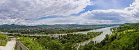 View above River Rhine at Remagen, Germany