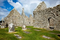 Tombstones In A Cemetery And An Old Cathedral, Clonmacnoise County Offaly Ireland
