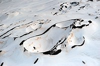 Snow under the crater of the Volcano Aetna, Sicily, Italy, aerial photo