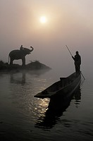 An Elephant With Its Mahout Stand At The Edge Of The Rapti River Near Sauraha And Chitwan National Park As A Man Pushes His Dugout Canoe Along The Riv...