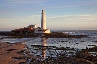 Lighthouse On St. Mary´s Island, Northumberland England