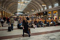 Passengers in a train station, stockholm sweden