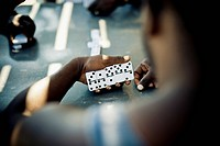 Playing dominoes, south caicos turks and caicos islands