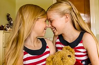 Preteen Mormon sisters wearing American flag dresses, Cedar City, Utah USA