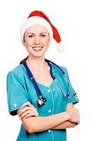 Christmas doctor, isolated over a white background