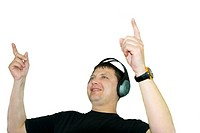 Dj is playing disco music isolated over white background