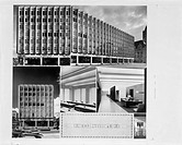 Views of architectural drawings of a project designed by architect Harry Weese. Also includes a view of the exterior of an IBM building, possibly in S...