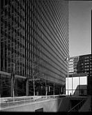 Views of Dirksen Federal Building of the Chicago Federal centre under construction and in completion. View , H: Corner support beams on first level ex...