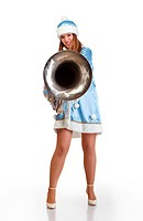 funny santa girl with big trumpet