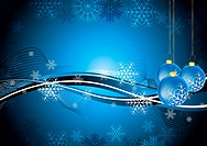 Dark blue greeting card with Christmas balls