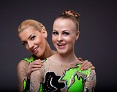 two beauty acrobats woman friendly portrait