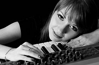 Girl with synthesizer