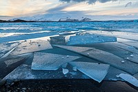 Jokulsarlon glacier lagoon, Southern Iceland, Iceland, Europe.