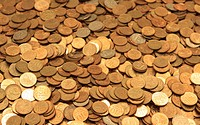 full frame background with mixed coins
