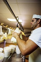 Hand-made cheese Binigarba - denomination of origin Mahon craftsman-farm Binigarba, Ciutadella, Menorca, Balearic Islands, Spain, Europe