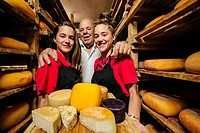 Jaume Pons and granddaughters, Binibeca-made cheese - denomination of origin craftsman-farm Alcaiduset Mahon, Alaior, Menorca, Balearic Islands, Spain...