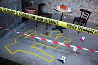 Crime scene at the festival ´quai du polar´ policeman book festival in Lyon, Rhône, Rhône-Alpes, France
