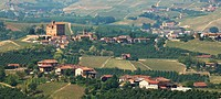 Panoramic view on village and old castle in Italy.