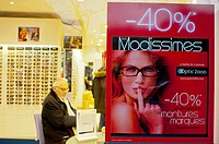 Paris, France, January Sales in Small Business Shops, Store Windows Signs