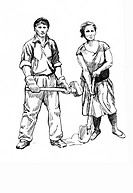 worker family graphic
