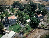 Aerial photograph of the church of Tabgha by the Sea of Galilee