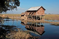 A stilt house on Inle Lake, Burma