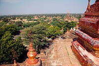 High angle view of temples of Bagan, Burma