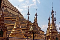 Spires on an ornate temple in Yangon, Burma