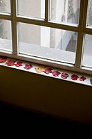 Autumn leaves on a window sill