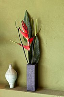 Flowers and vases on a shelf (thumbnail)