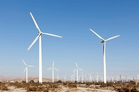 Wind turbines in a desert landscape