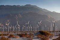 Wind turbines in a desert