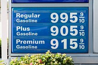 Detail of a sign advertising fuel prices