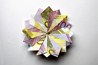European Union currency folded into a pinwheel shape (thumbnail)