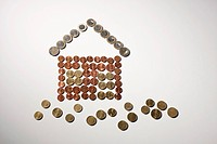 European Union coins arranged into the shape of house and grass (thumbnail)