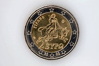 Rear view of a two Euro coin with image of Europa riding a bull (thumbnail)