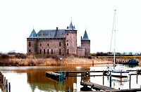 view on castle in small Dutch towm Muiden