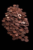 A heap of copper Euro coins