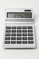 A calculator with a large figure on the digital display