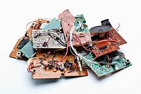 A heap of trashed computer parts