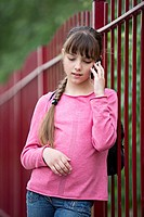A girl using a mobile phone
